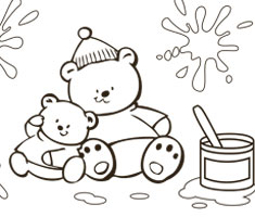 [Translate to South Africa:] NUK colouring page with two funny bears