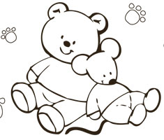 [Translate to South Africa:] NUK colouring page with teddy and mouse