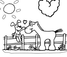 [Translate to South Africa:] NUK colouring page horse and dog