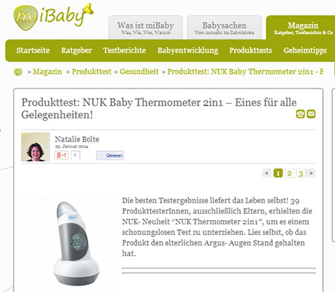 [Translate to South Africa:] NUK Baby Thermometer 2in1 in miBaby-test